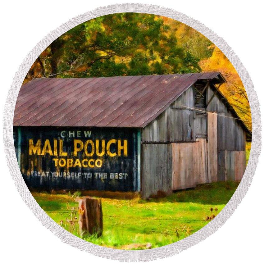 West Virginia Round Beach Towel featuring the photograph West Virginia Barn Oil by Steve Harrington