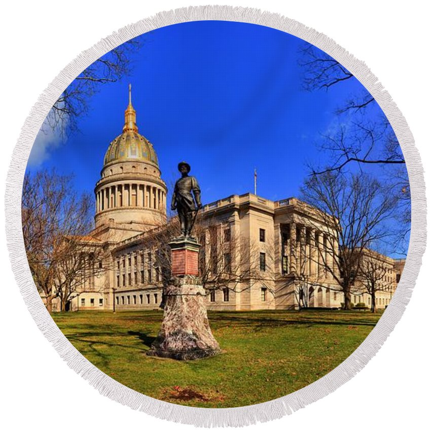 West Virginia Capitol Building Round Beach Towel featuring the photograph West Virginia State Capitol Building by Adam Jewell