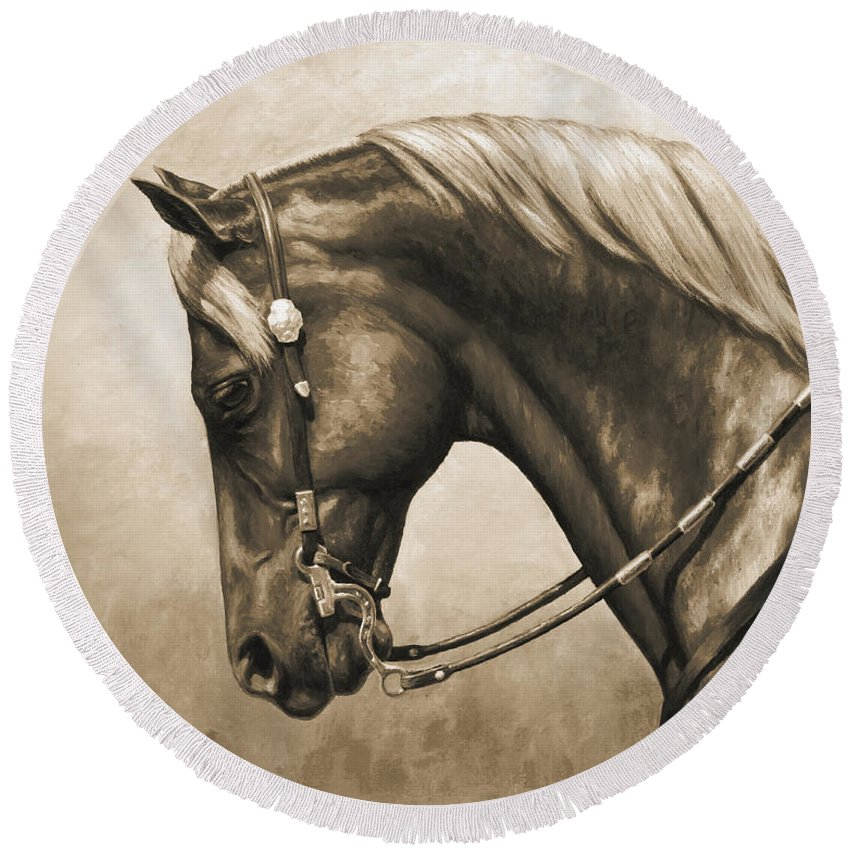 Horse Round Beach Towel featuring the painting Western Horse Painting In Sepia by Crista Forest