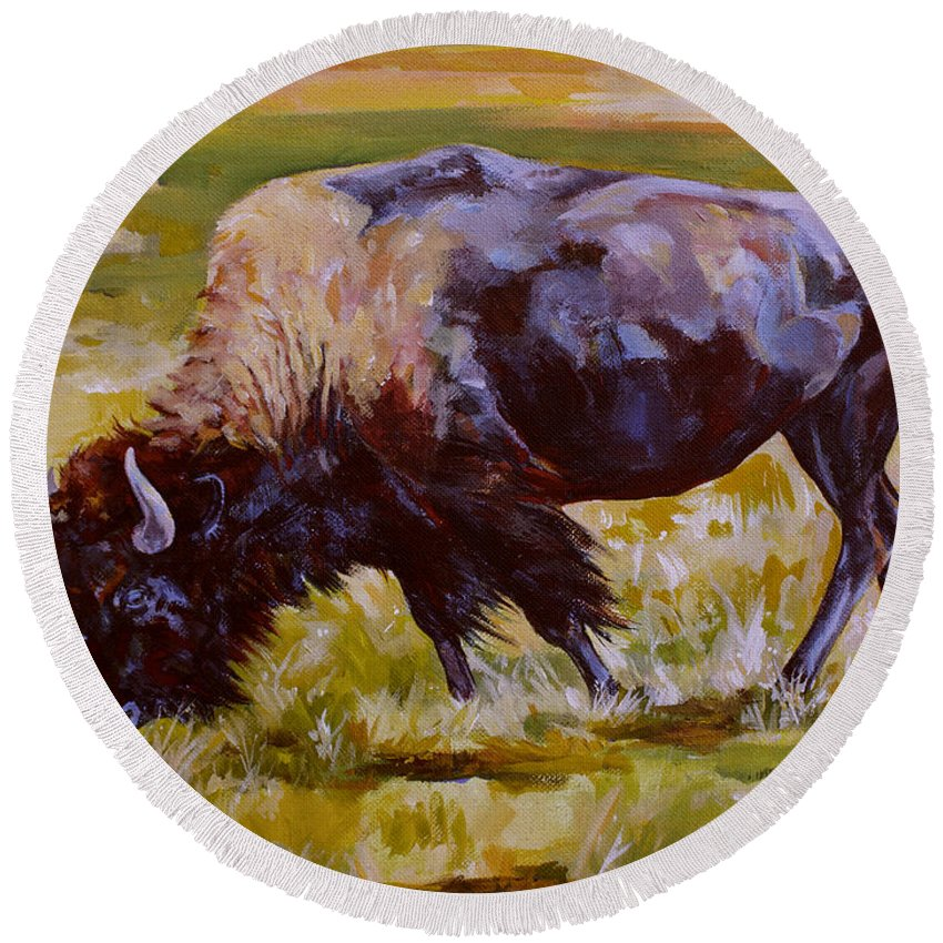 Bison Round Beach Towel featuring the painting Western Icon by Derrick Higgins