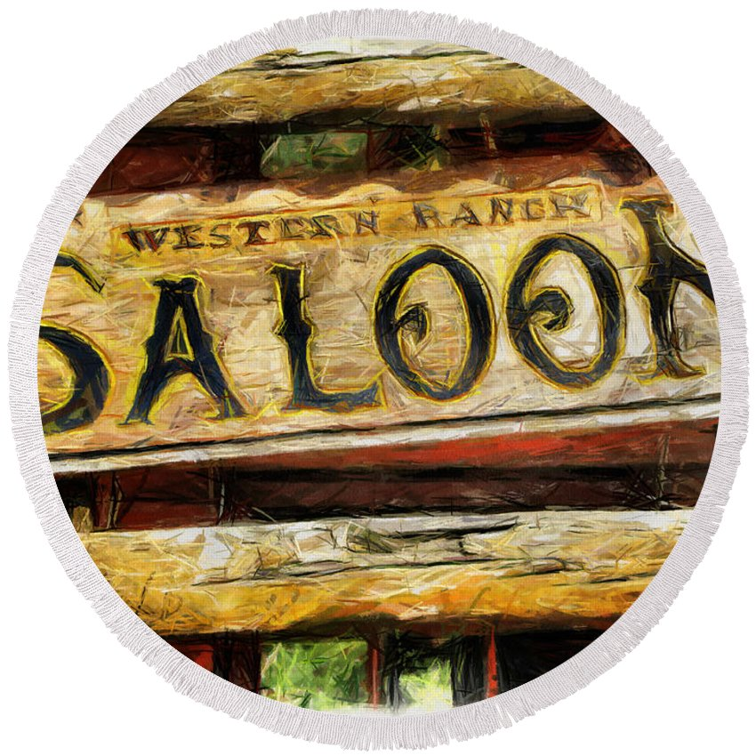 Saloon Round Beach Towel featuring the drawing Western Saloon Sign - Drawing by Daliana Pacuraru