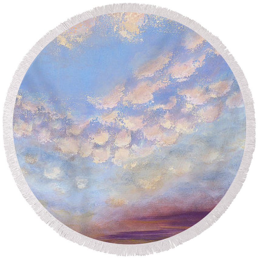 Landscape Round Beach Towel featuring the painting Western Sunset by Margaret Bobb