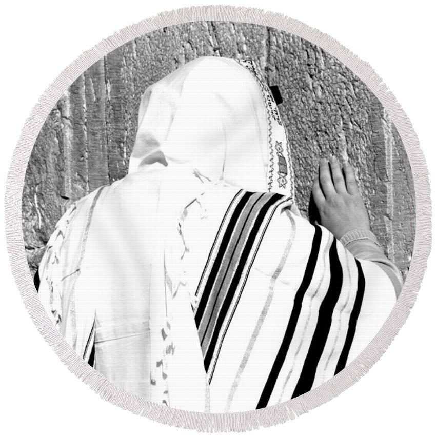 Jerusalem Round Beach Towel featuring the photograph Western Wall Devotion by Stephen Stookey