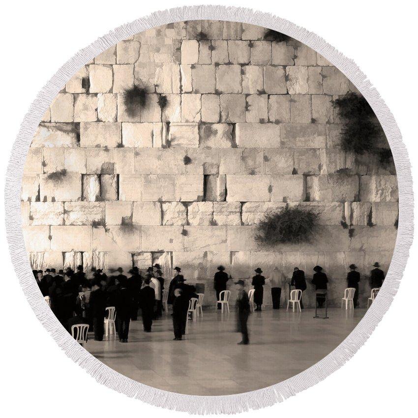 Orthodox Religous Jews Praying Jerusalem Israel Wailing Western Wall Art Photo Fresco Sepia Round Beach Towel featuring the photograph Western Wall Photopaint One by Joseph Hedaya