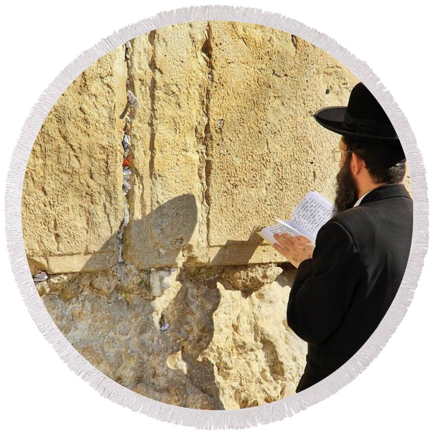 Ancient Round Beach Towel featuring the photograph Western Wall Prayer by Stephen Stookey