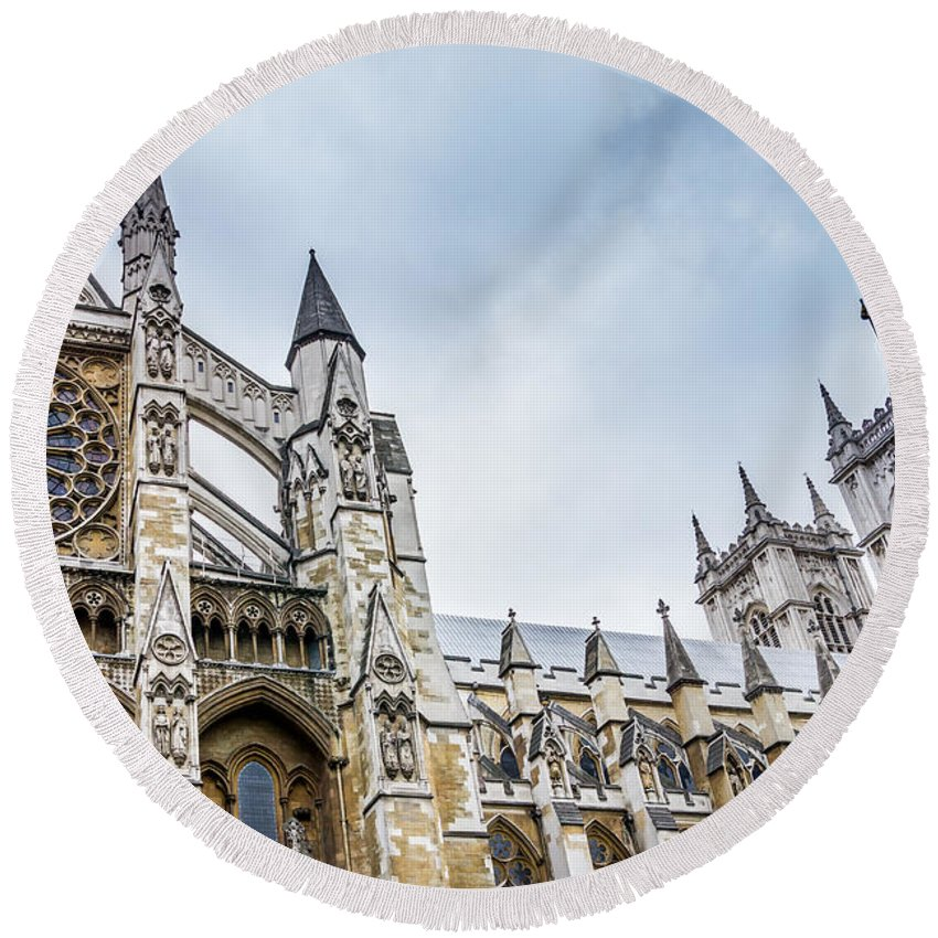 Blue Round Beach Towel featuring the photograph Westminster Abbey by Pati Photography