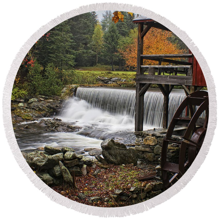 Weston Grist Mill Round Beach Towel featuring the photograph Weston Grist Mill by Priscilla Burgers