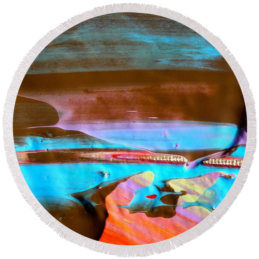 Paint Round Beach Towel featuring the photograph Wet Paint 73 by Jacqueline Athmann