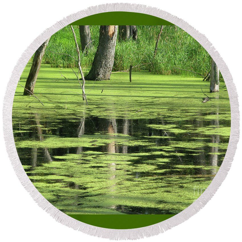 Landscape Round Beach Towel featuring the photograph Wetland Reflection by Ann Horn