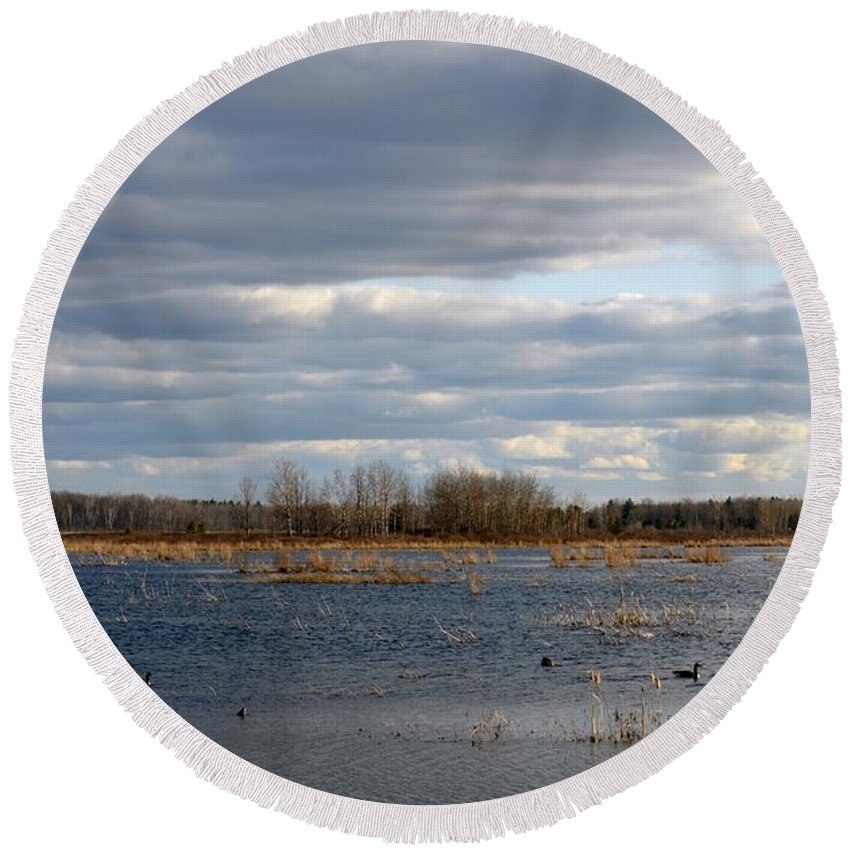 Houghton Lake Round Beach Towel featuring the photograph Wetlands by Linda Kerkau