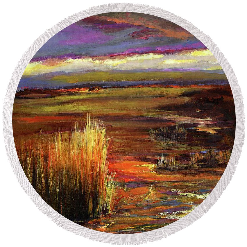Art Round Beach Towel featuring the painting Wetlands Sunset Iv by Julianne Felton