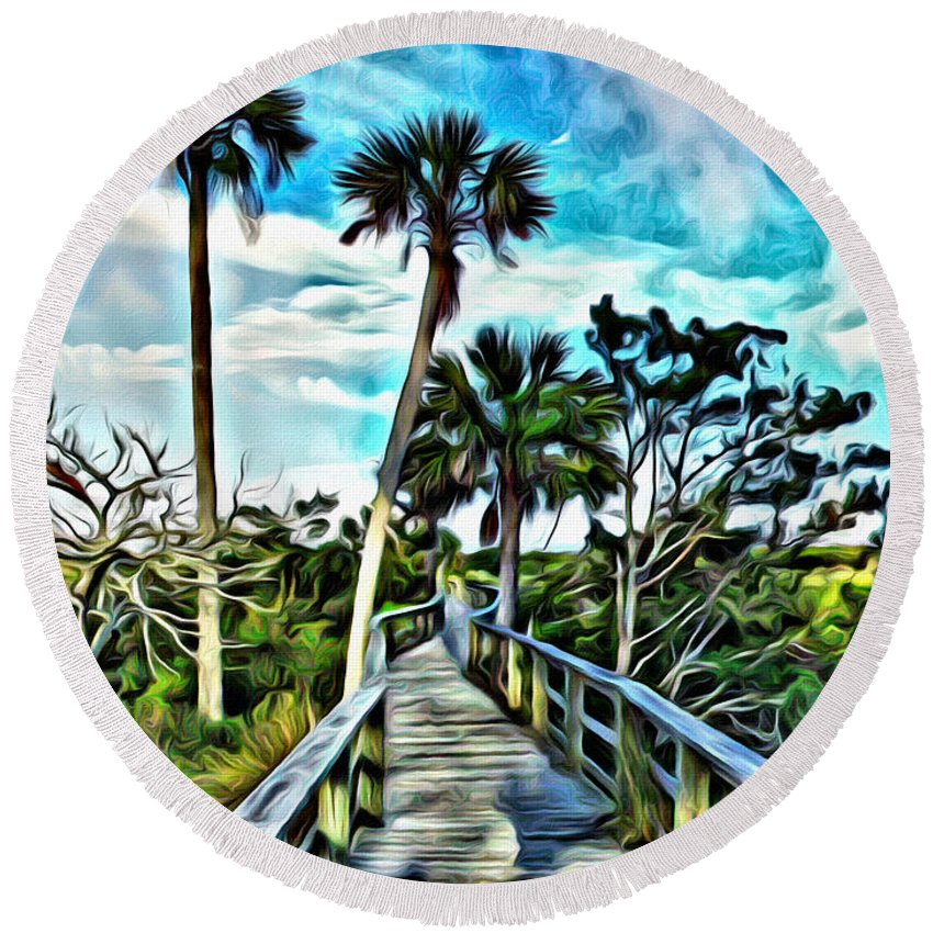 Boardwalk Round Beach Towel featuring the photograph What A Beautiful Boardwalk by Alice Gipson