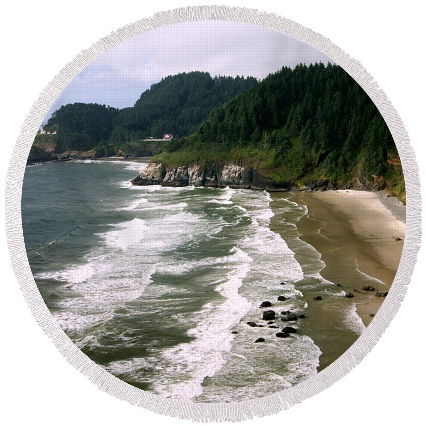 View Round Beach Towel featuring the photograph What A View by Beth Collins