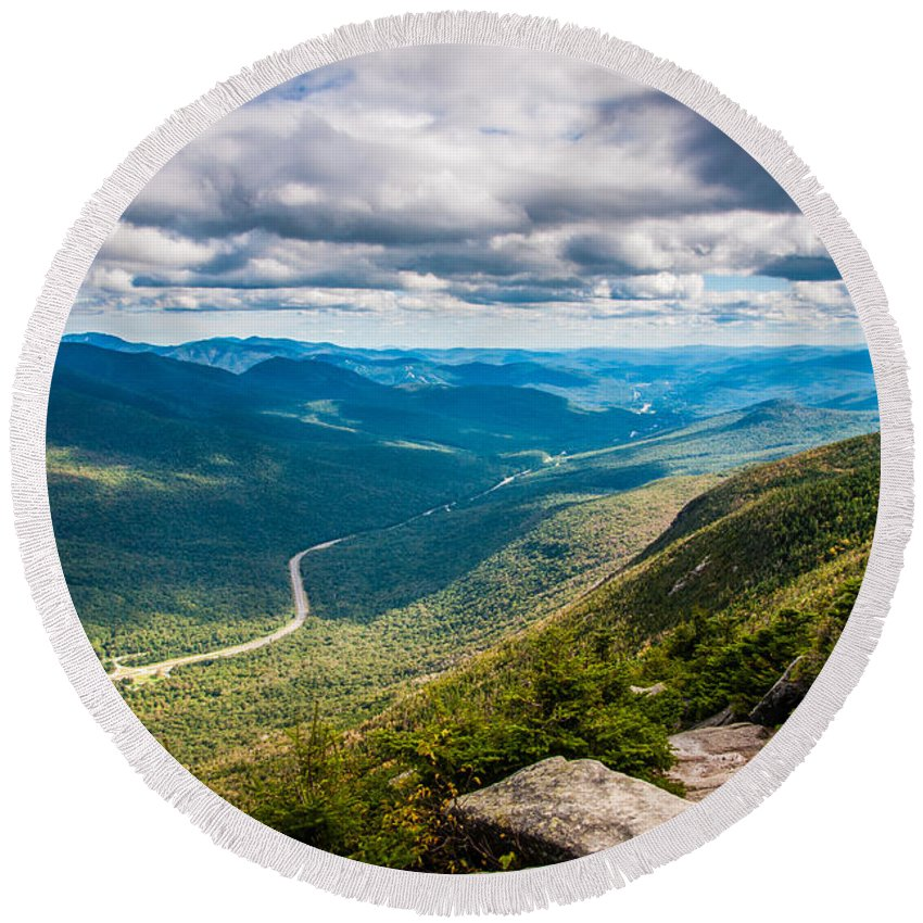 New Hampshire Round Beach Towel featuring the photograph What A View by Kristopher Schoenleber