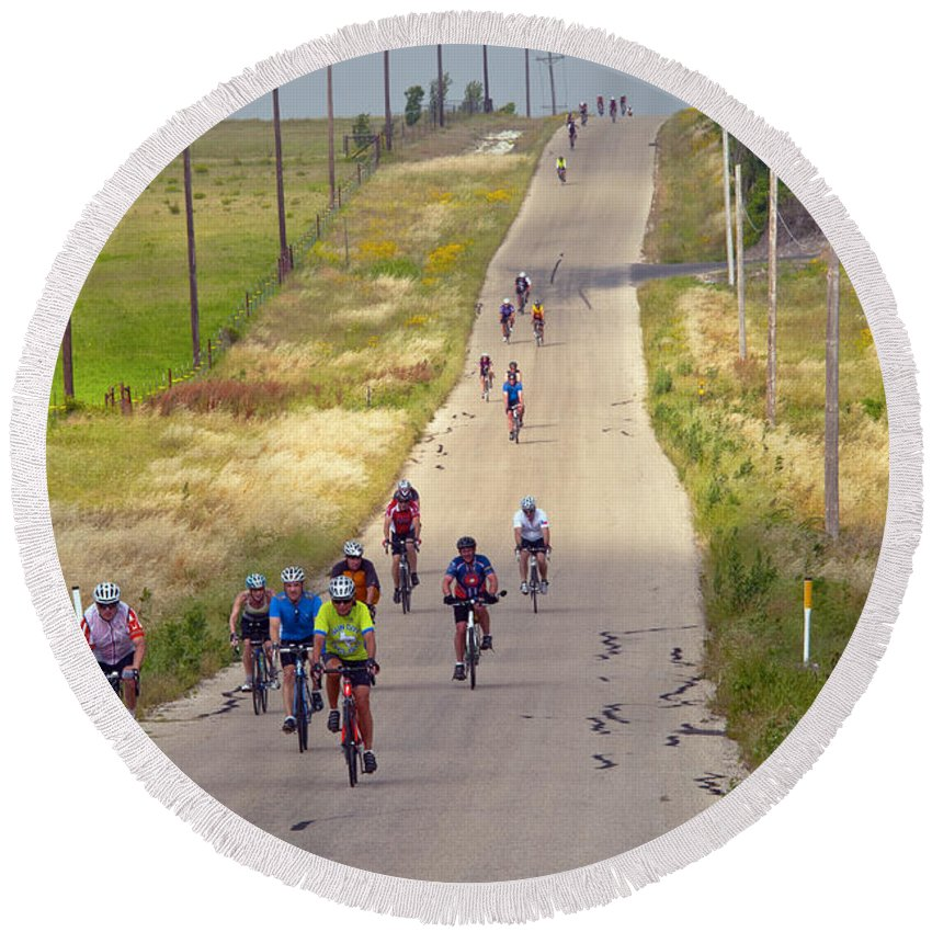 Bicycle Bicycles Williamson County Texas Landscape Landscape Man Men People Person Persons Bike Bikes Creature Creatures Woman Women Landscape Landscapes Round Beach Towel featuring the photograph What Comes Down Must Go Up by Bob Phillips