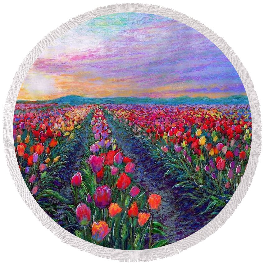 Tulip Round Beach Towel featuring the painting Tulip Fields, What Dreams May Come by Jane Small