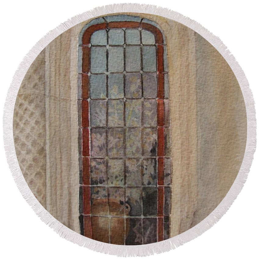 Window Round Beach Towel featuring the painting What Is Behind The Window Pane by Mary Ellen Mueller Legault