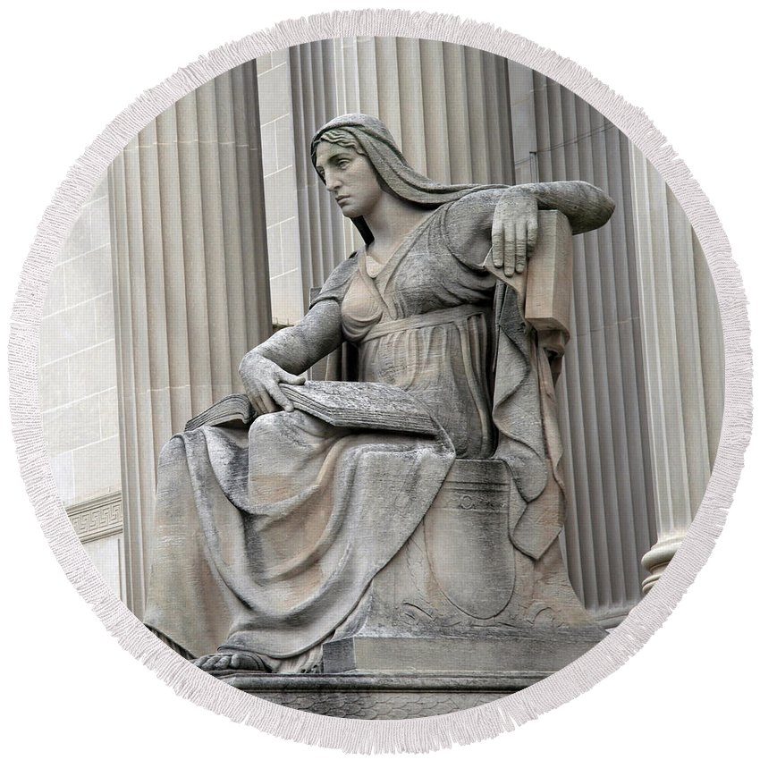 Statue Round Beach Towel featuring the photograph What Is Past Is Prologue Statue At National Archives -- 2 by Cora Wandel
