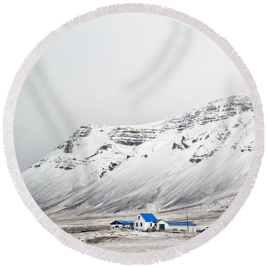 Iceland Round Beach Towel featuring the photograph What Lies Beneath by Evelina Kremsdorf