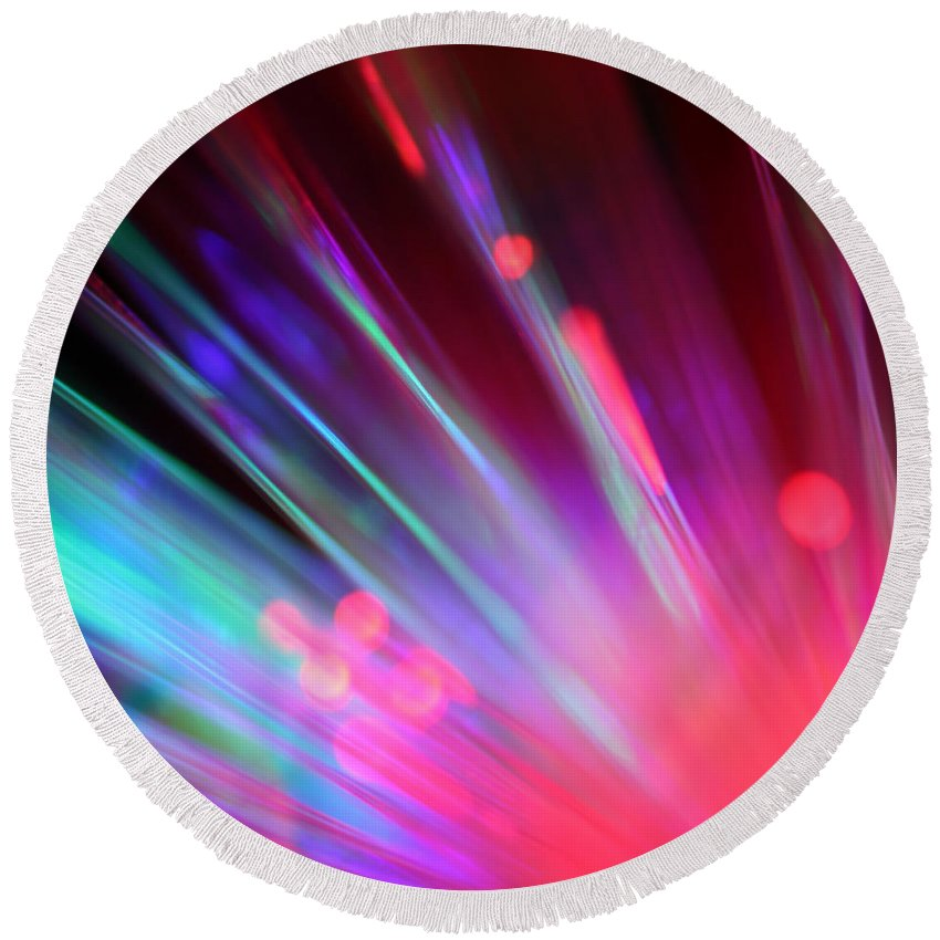 Abstract Round Beach Towel featuring the photograph What Light by Dazzle Zazz