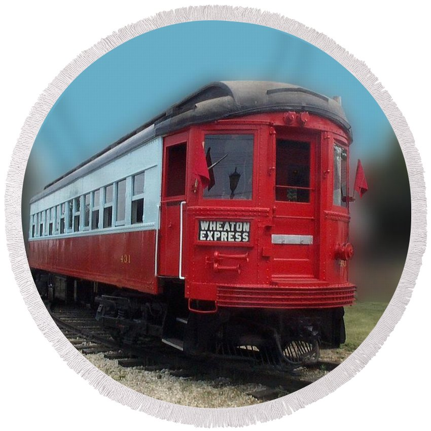Locomotive Round Beach Towel featuring the photograph Wheaton Express by Thomas Woolworth
