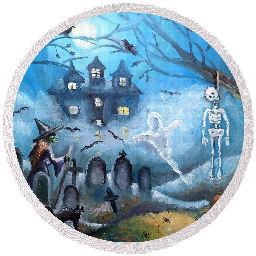 Halloween Round Beach Towel featuring the painting When October Comes by Shana Rowe Jackson