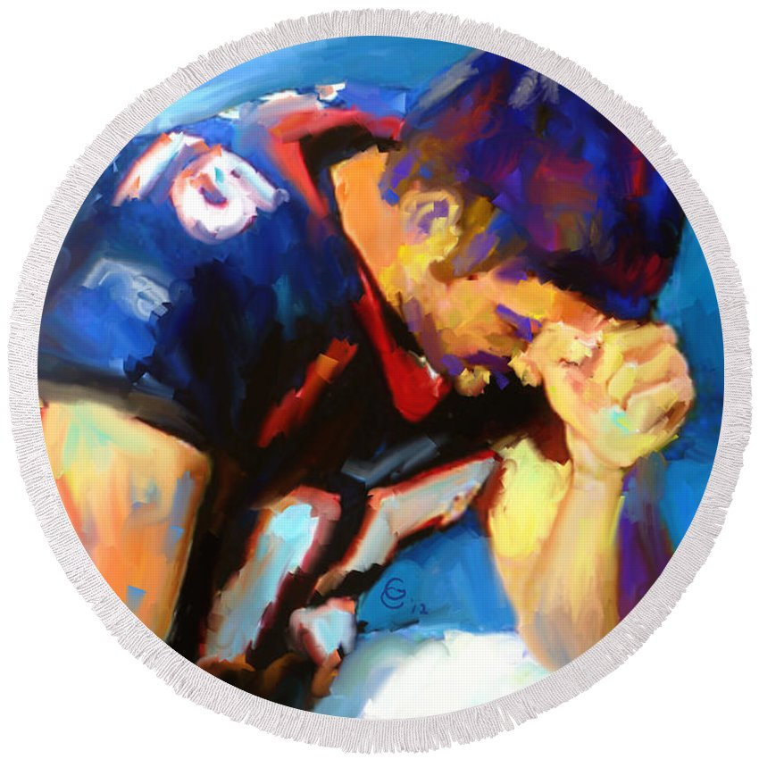 Tim Tebow Round Beach Towel featuring the mixed media When Tebow Was A Bronco by G Cannon