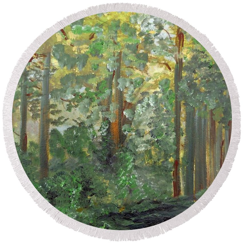 Forest Round Beach Towel featuring the painting When The Light Breaks Through by Eloise Schneider Mote