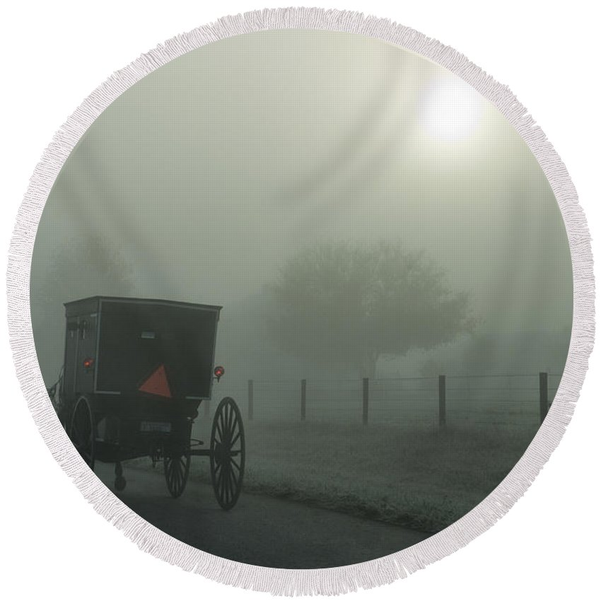 Amish Round Beach Towel featuring the photograph When The Sun Is Hidden by David Arment
