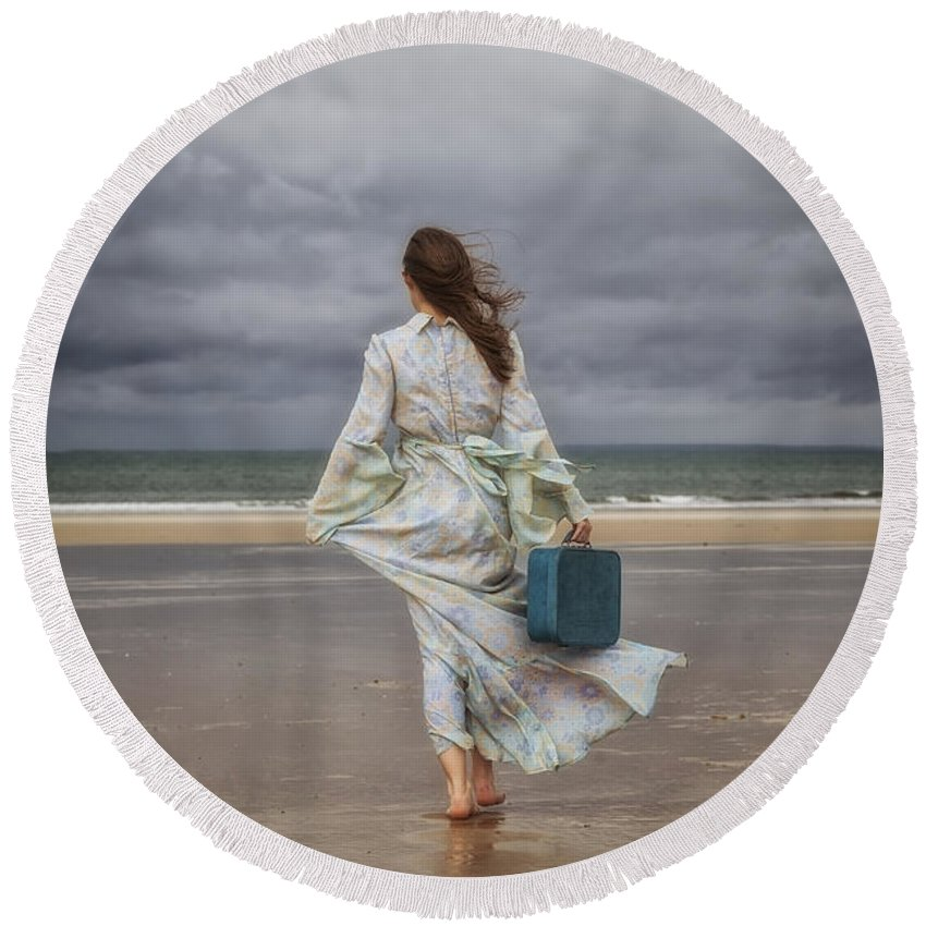 Woman Round Beach Towel featuring the photograph When The Wind Blows Away My Dreams by Joana Kruse