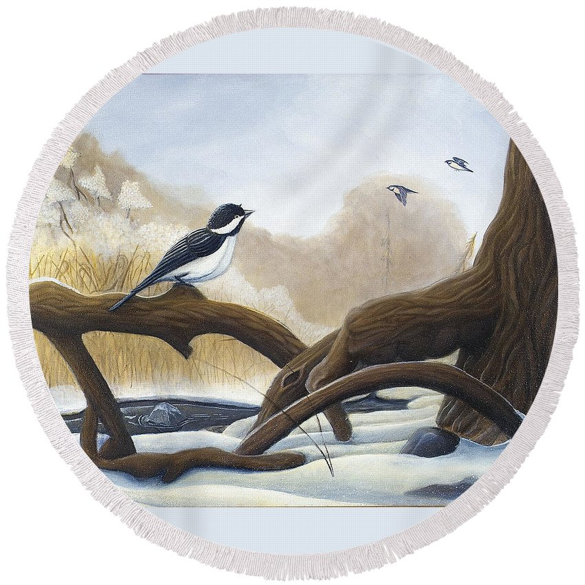Rick Huotari Round Beach Towel featuring the painting Where are you going by Rick Huotari