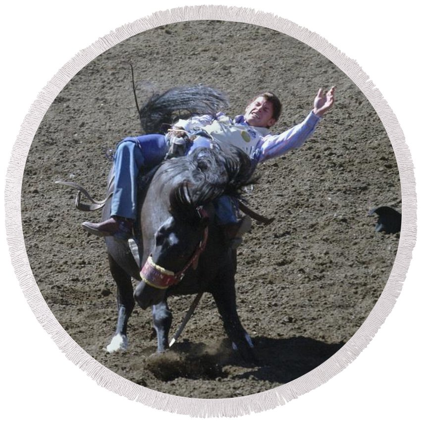 Cowboys. Broncs Round Beach Towel featuring the photograph Where Did My Hat Go by Jeff Swan