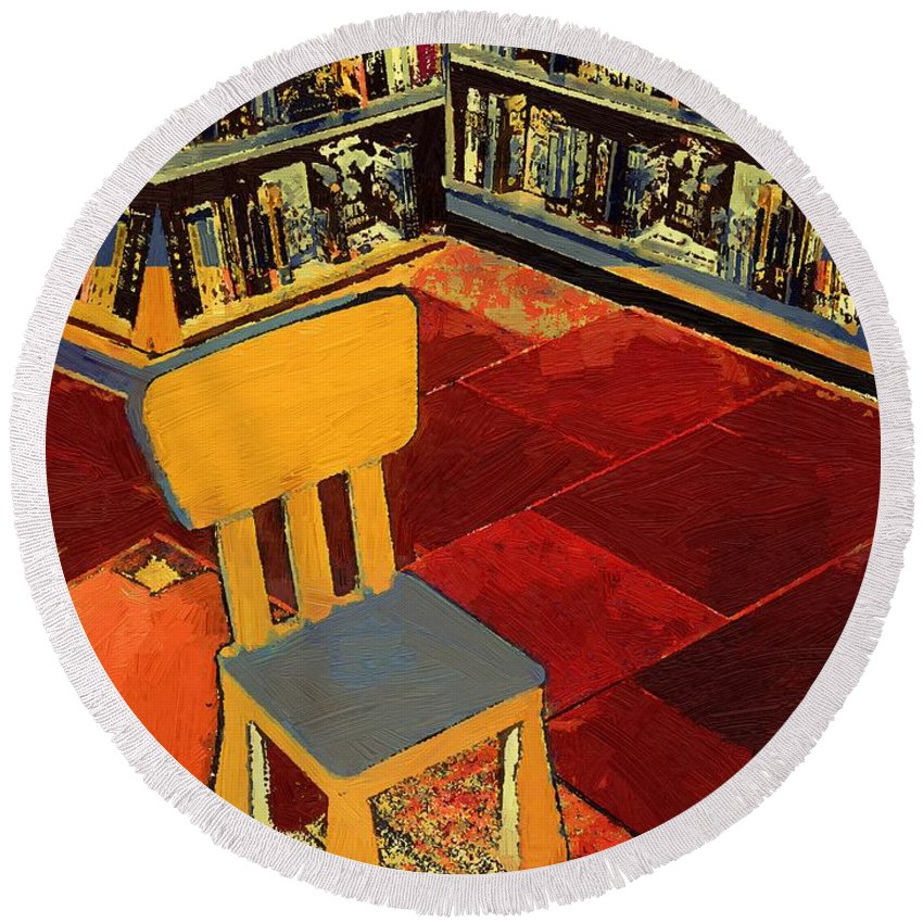 Chair Round Beach Towel featuring the painting Where I Sit by RC DeWinter