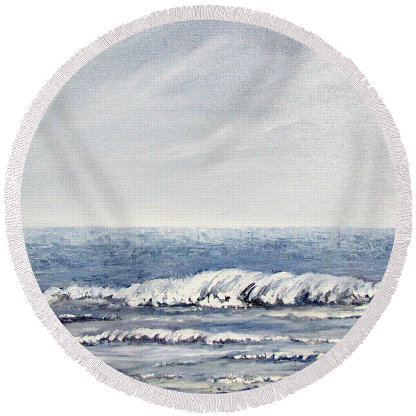 Seascape Round Beach Towel featuring the painting Where I Want To Be by Todd Blanchard