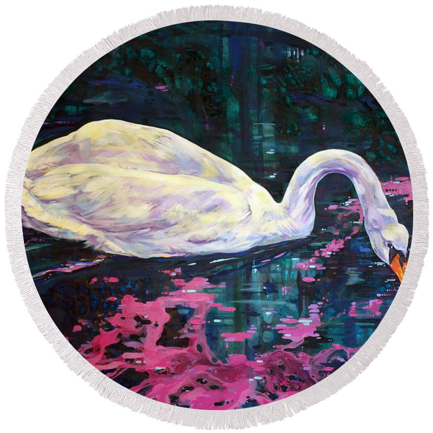 Bird Round Beach Towel featuring the painting Where Lilac Fall by Derrick Higgins