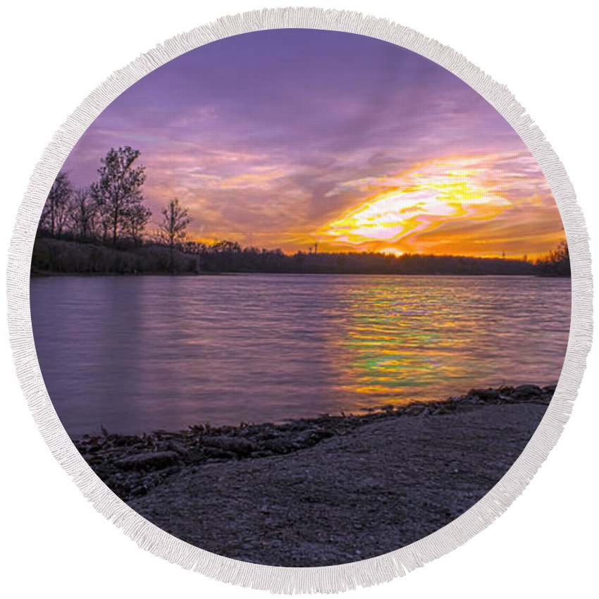 Hdr Round Beach Towel featuring the photograph Where The Road Ends by Thomas Sellberg