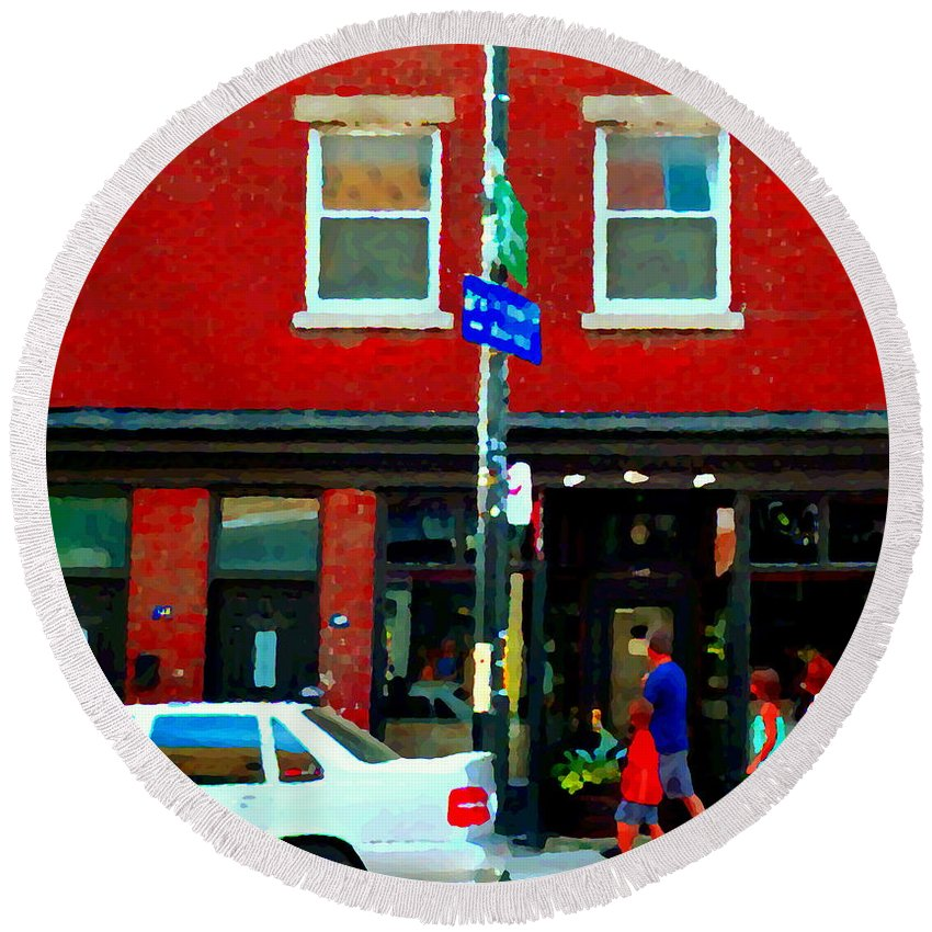 St.henri Round Beach Towel featuring the painting Wheres The Beef On Rue Notre Dame Joe Beef Resto Montreal Urban Art Scene Carole Spandau by Carole Spandau