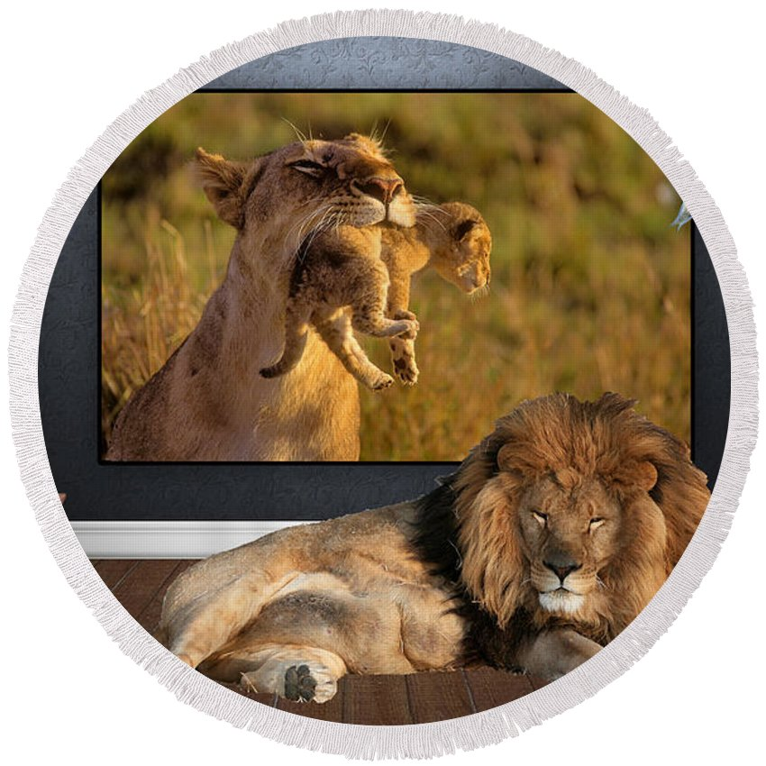 Lion Round Beach Towel featuring the mixed media While The Lion Sleeps Tonight by Marvin Blaine