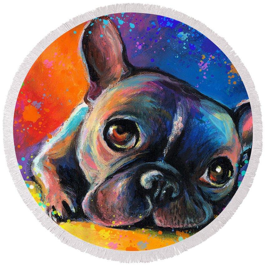 French Bulldog Prints Round Beach Towel featuring the painting Whimsical Colorful French Bulldog by Svetlana Novikova