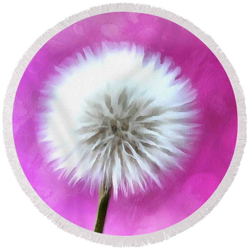 Dandelion Round Beach Towel featuring the digital art Whimsical Wishes by Krissy Katsimbras