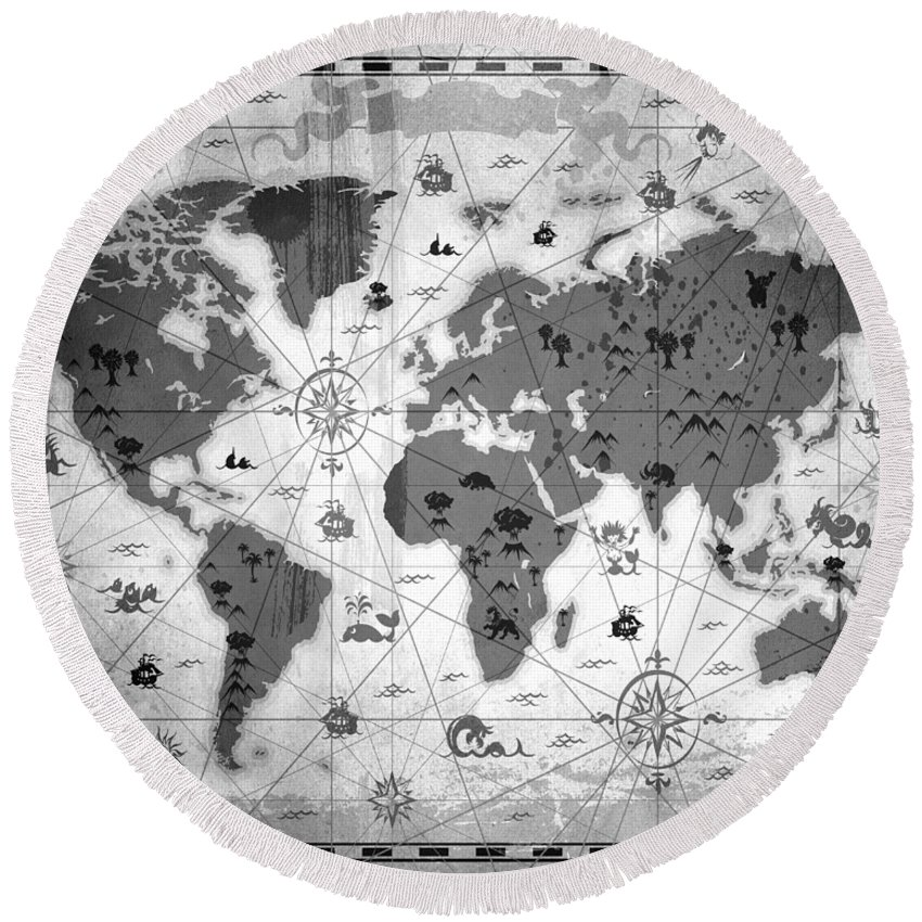 Texture Round Beach Towel featuring the mixed media Whimsical World Map Bw by Angelina Vick