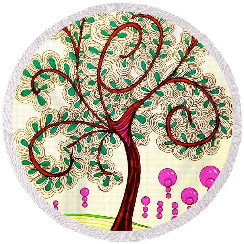 Whimsy Tree Round Beach Towel featuring the drawing Whimsy Tree by Anita Lewis