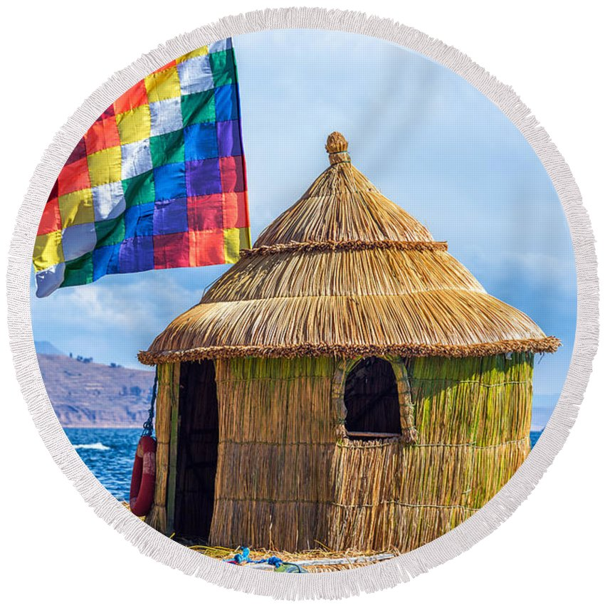 Titicaca Round Beach Towel featuring the photograph Whiphala Flag On Floating Island by Jess Kraft