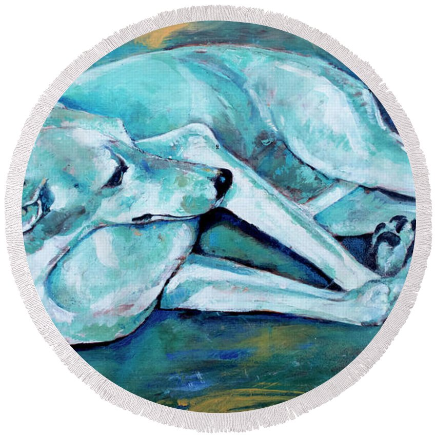 Dog Round Beach Towel featuring the painting Whippet-effects Of Gravity-3 by Derrick Higgins