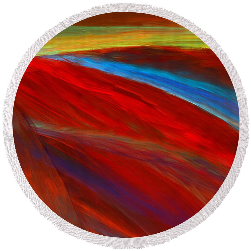 Colors Round Beach Towel featuring the digital art Whirled Colors by Lourry Legarde
