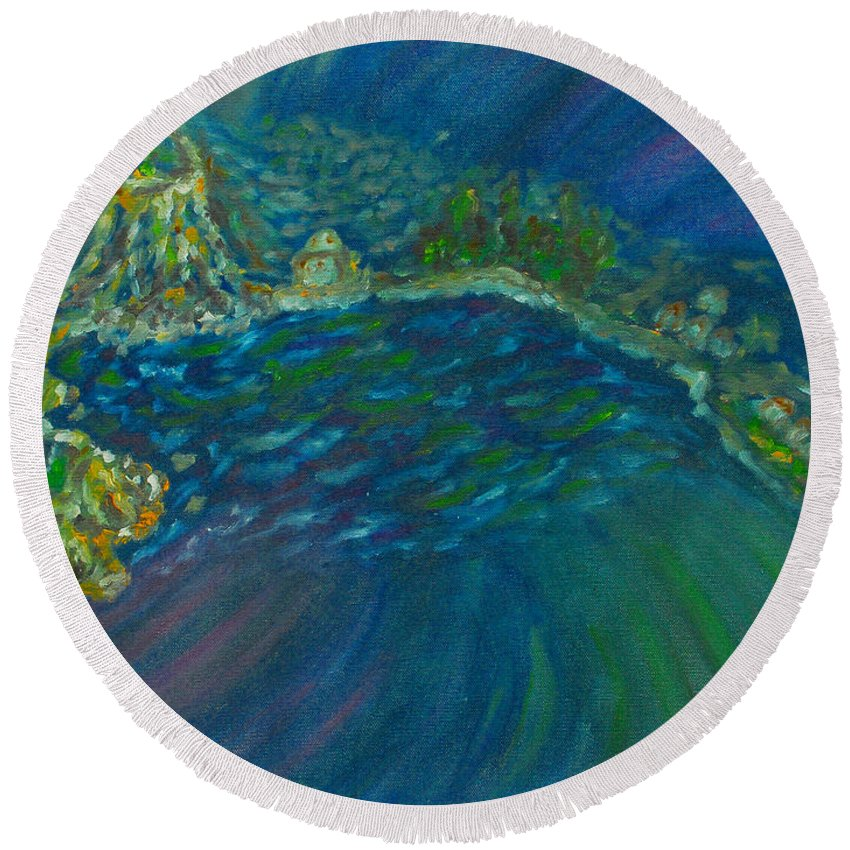 Augusta Stylianou Round Beach Towel featuring the painting Whirlpool by Augusta Stylianou
