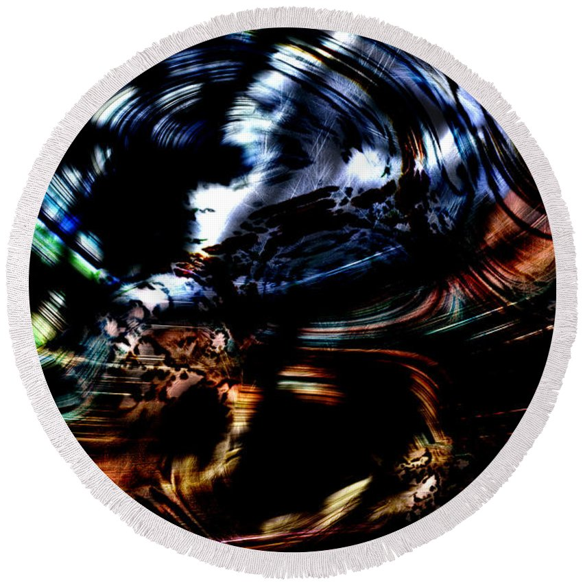 Abstract Round Beach Towel featuring the digital art Whirlpool by Richard Thomas