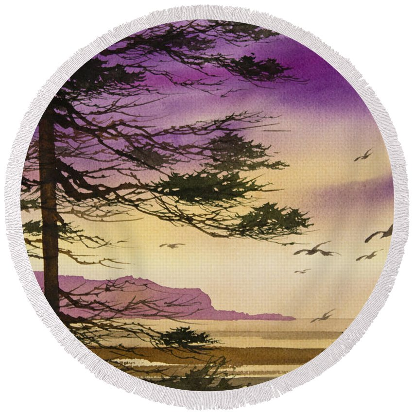 Landscape Round Beach Towel featuring the painting Whisper Of Dawn by James Williamson