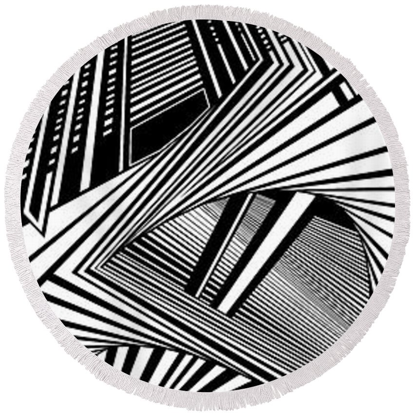 Dynamic Black And White Round Beach Towel featuring the painting Whispering Thoughts by Douglas Christian Larsen