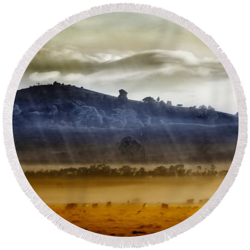 Landscapes Round Beach Towel featuring the photograph Whisps Of Velvet Rains... by Holly Kempe